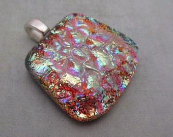 Petite Dichroic glass pendant copper gold double dichroic pendant fused glass pendant jewelry