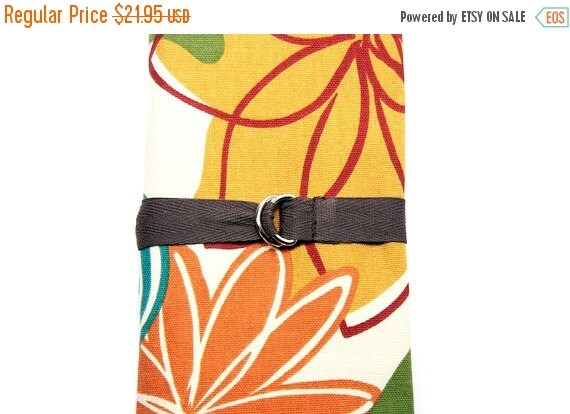 Sale 25% OFF SHORT Knitting Needle Organizer Case - Magnolia - 24 brown pockets for circular, double pointed, interchangeable or travel