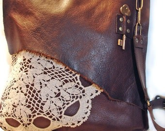 Leather Messenger Bag Leather Crossbody Bag Leather Boho Bag with Doily and Antique Key XL