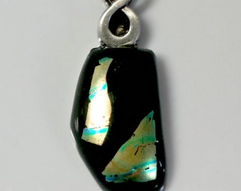 Fused glass pendant necklace; black glass and dichroic glass with antique silver bail; fused glass jewelry
