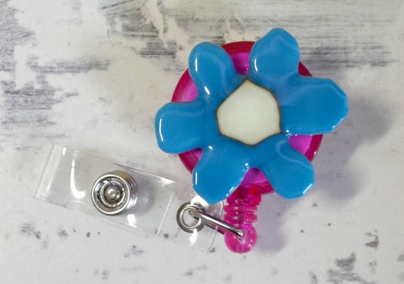 Fused glass badge reel - badge reel - ID tag reel - ID badge - retractable badge reel - retractable fused glass badge holder - blue flower