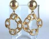 Vintage Gold Chain Earrings - Shiny Gold Dome Posts with Large Metal Link Textured Chain Circles Loops Dangling - Bold Statement Earrings