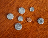 ONE Inch Scale/Fashion doll/Barbie Scale Dollhouse Miniature 7 pcs. of Metal Coins/Money---Penny, Dimes,Nickels & Quarters
