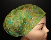 Embroidered Batik on Green Medical Surgical Scrub Hat Vet Nurse Chemo