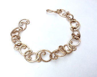 Bronze forged link bracelet
