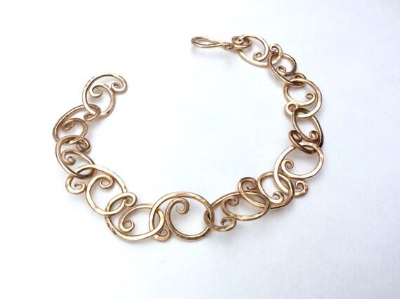 Bronze forged link bracelet