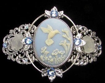 Cameo Barrette Blue and White Hummingbird with Beach Glass and Crystal Accents