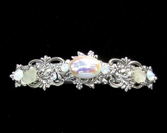 Sparkling Hair Barrette with Iridescent White Cabochon  Crystals and Beach Glass