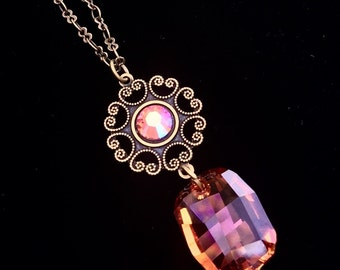 Astral Pink Crystal and Antiqued Brass Necklace
