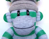 Green and Grey Striped Sock Monkey (made to order)
