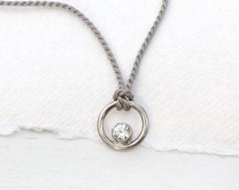 White Sapphire Circle Pendant, 18k White Gold, Natural Silk Cord, Eco Friendly