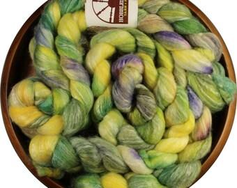 Lemongrass - hand-dyed Merino wool / bamboo / silk (4 oz.) combed top roving