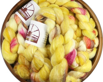 Ray of Sunshine - hand-dyed Merino wool / bamboo / silk (4 oz.) combed top roving