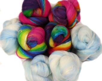 Rainbow Slide battlings -- mini batts (2 oz.) organic polwarth wool, bamboo, silk, sparkle.