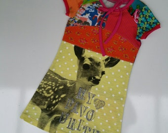Size 3T (38 1/2 inch height) Upcycled girls dress Deer