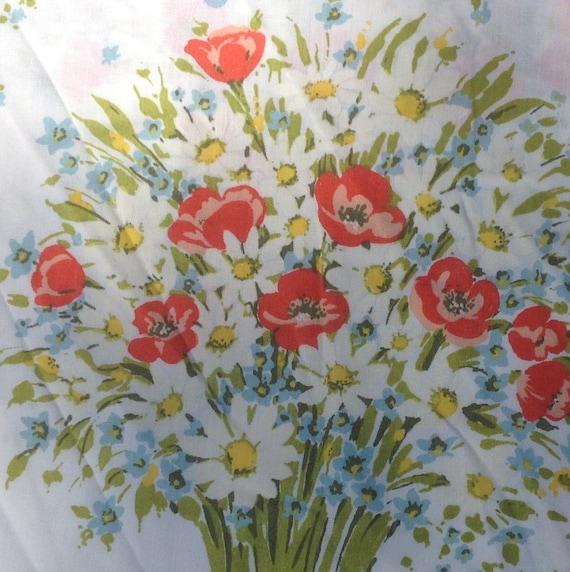 Daisy Bouquet Flat Twin Sheet with Blue Butterflies. - Morgan Jones - 1970s - Vintage Linens and Fabric