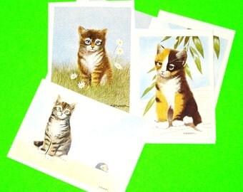 Vintage 1980s Meow Cat Kitten MJ Pledger Art Regal Greeting Cards Set of Six