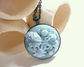 Blue Floral Necklace, Flower Jewelry, Mother's Day Gift, Blue Lovers Gift, Blue Garden Pendant, Handmade Polymer Clay Applique Embroidery