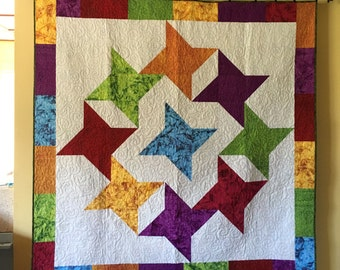 Patchwork Lap Quilt made with Island Batik,  Quilt in bright colors, machine quilted 68 x 68 home decor quilt seaside, beach, Sea Stars