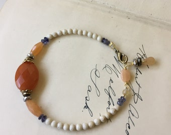 I'm Listening fundraising bracelet. Beaded stone bracelet by Anne More Jewelry