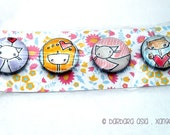 Round Magnets of original artwork - Set of 4 - Girl and Cats