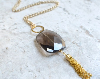 The Maggie- Smoky Quartz and Gold Tassel Necklace