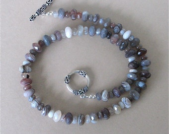 """Botswana Agate Necklace with Sterling Silver Toggle Clasp - Chunky Agate Necklace - Grays, Pinks, Purples - 18 1/4"""" Length - Faceted Beads"""