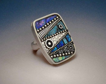 Big Bold Sterling Silver size 8 Cocktail Ring inlaid with sterling beads,Iridescent Mosaic Polymer black white elements, blue green teal