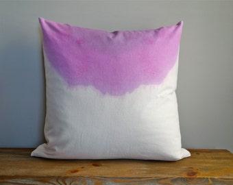 "24"" x 24"" Huge Hand Dip Dyed Shibori Circle Cotton Linen Pillow Cover- Wisteria Lilac Purple- Washable- Interior- Home Decor- Interior #1300"