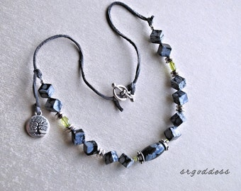 TREE OF LIFE snowflake obsidian and peridot and deerskin leather 18 inch necklace by srgoddess