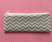 Planner Accessories - Gold Chevron on Mint - Pencil Case - Pen Pouch - Pencil Case - Pen Case