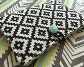 Black and White Tiles - Small Wallet - Business Card Holder / ID Case / Photo Holder