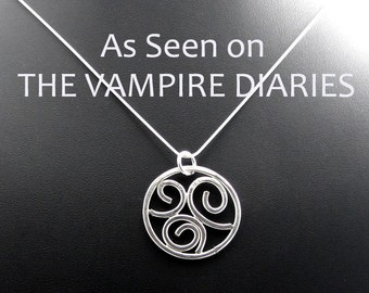 As Seen on The Vampire Diaries Sterling Silver Spirals Necklace Pendant