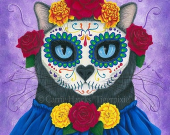 Day of the Dead Cat Art Cat Painting Mexican Sugar Skull Cat Gothic Cat Art Limited Edition Canvas Print 11x14 Art For Cat Lover