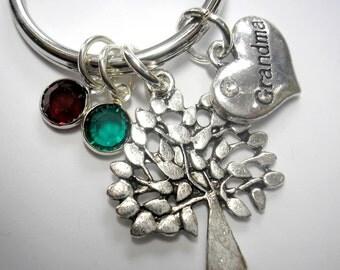 Grandma Family Tree Key Chain or Purse Charm with Grandma Charm and Birthstone Charms