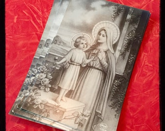 VIRGIN MARY POSTCARD Antique Religious Vintage Baby Jesus Germany