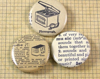 Recorded Music Pinback Button Set