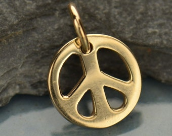 Small bronze peace symbol charm - peace charm - add to your necklace or charm bracelet