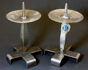 Set of Two Swedish Metal Candle Holders - Svensk Slöjd Handicraft Assn - Midcentury Modern