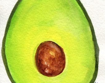 Avocado Painting watercolor 4 x 6 Original , SharonFosterArt Farmhouse Decor