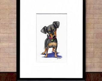 Mini Pinscher ORIGINAL Dog Art Drawing Matted