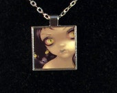 Faces of Faery 170 square metal necklace by Jasmine Becket-Griffith Art fairy black cat halloween girl