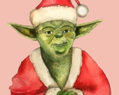 Santa Yoda Holiday Postcard (double-sided)