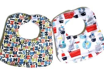 Baby Boy Bib Set, Baby Bibs, Baby Shower Gift, Countdown to Sailing Bibs, Handmade Baby Bibs Set of 2, Infant Bib