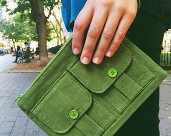 Corduroy Wristlet, Wallet Wristlet, Wristlet Purse, Wristlet Wallet, Corduroy Wallet, Green Wallet, Cell Phone Wristlet