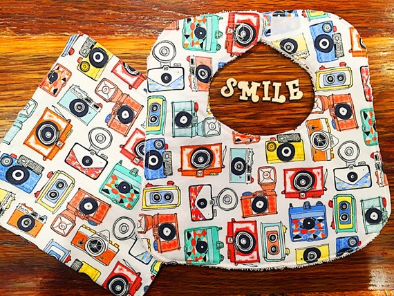 Cameras Baby Bib, Infant Bib, Baby Shower Gift, Newborn Drool Bib