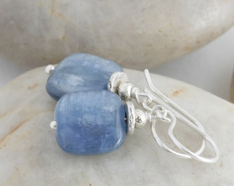 Blue Kyanite Dangle Drop Hill Tribe Fine and Sterling Silver Earrings