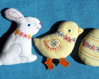 Embroidered Easter Softies PDF pattern set - EMAIL - Sweet bunny, chick & egg with simple embroidery