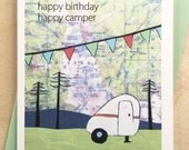 Happy Birthday Camper Map Card // Happy Camper // Birthday Card // Greeting Card // Camping Card // Cute Birthday Card // Rachel Austin Card