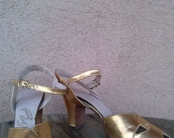 Vintage 1950s Shoes Gold Peep Toe Cuban Heels US5.5 2014414